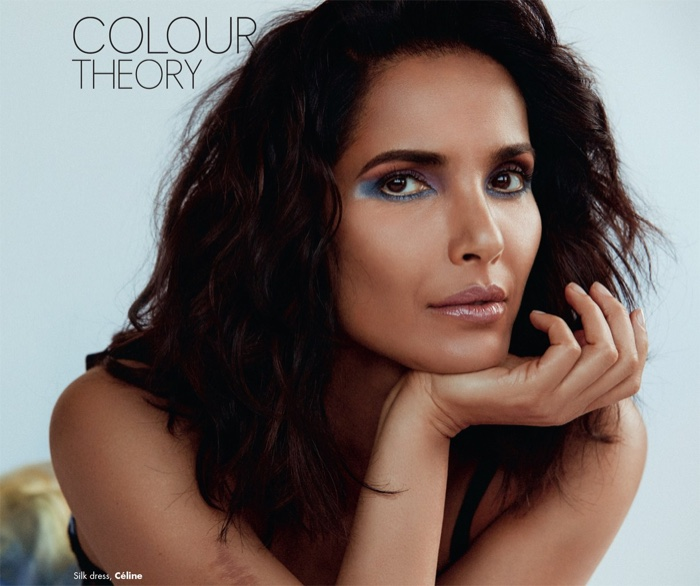 Model Padma Lakshmi shows off a blue eyeshadow look