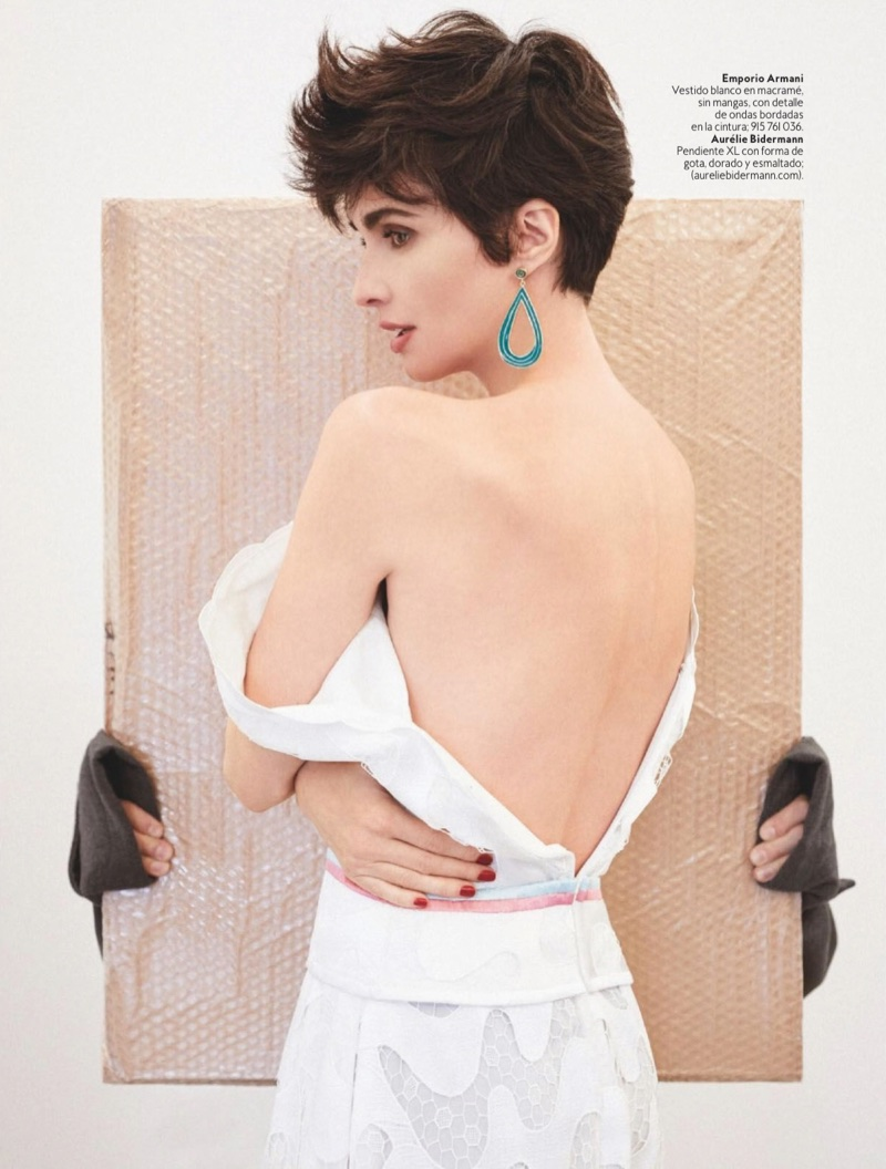 Paz Vega poses in Emporio Armani dress and Aurelie Bidermann earring