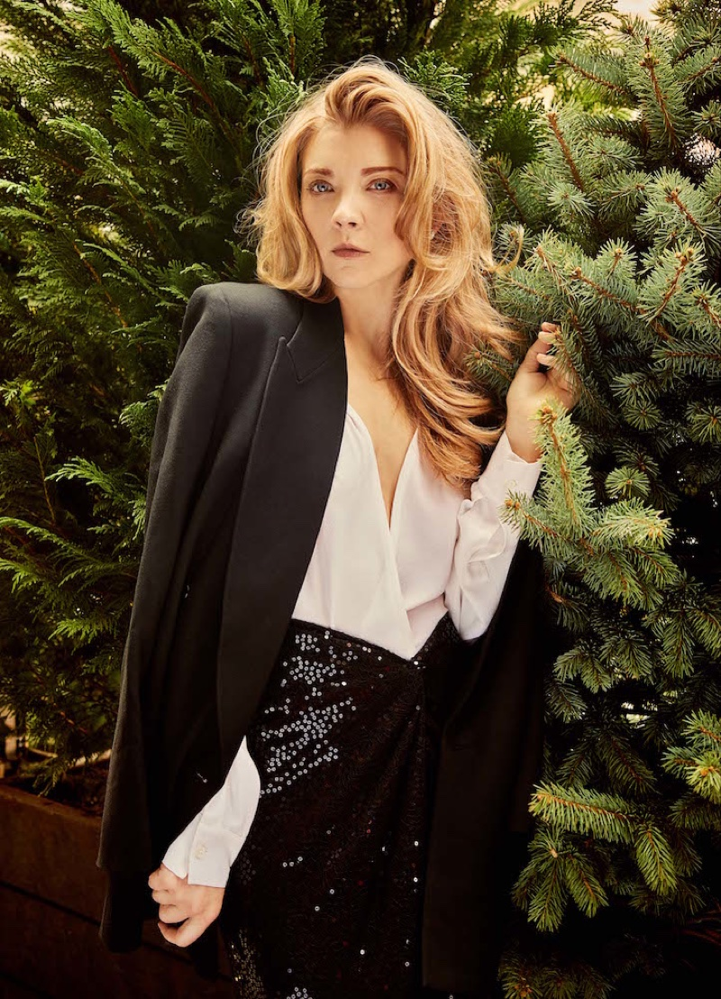 Actress Natalie Dormer poses in Michael Kors jacket, shirt and skirt