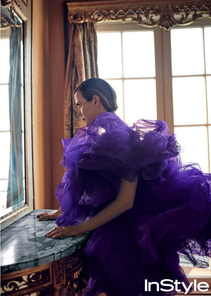Actress Sarah Paulson wears purple Alexandre Vauthier dress