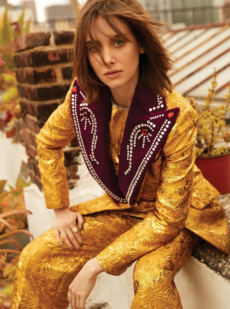 Suiting up, Alison Brie wears Gucci jacket, top and pants