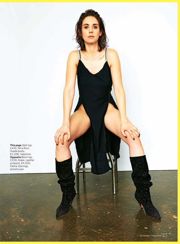 Actress Alison Brie wears Nina Ricci top and Valentino boots