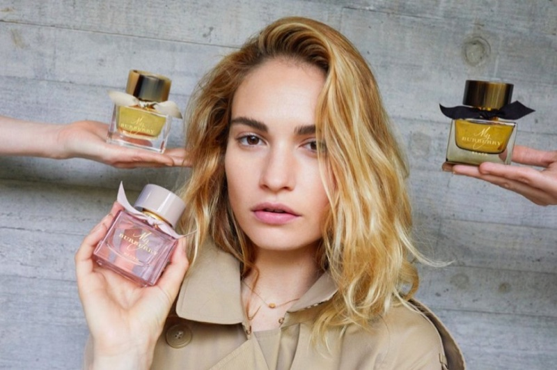 Actress Lily James is the face of the My Burberry fragrance campaign