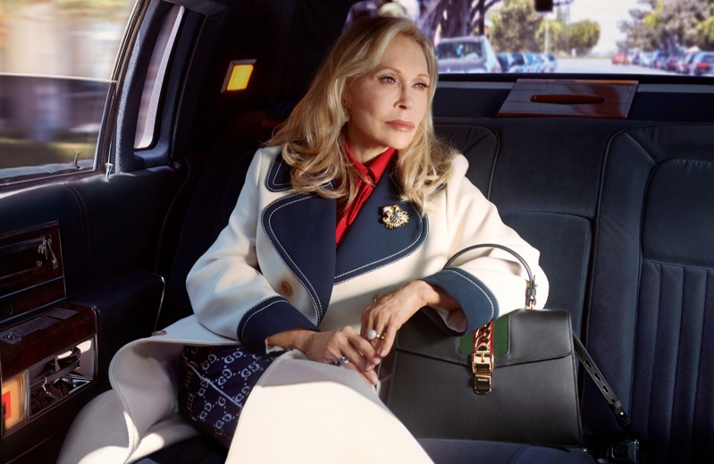Posing with the Sylvie handbag, Faye Dunaway appears in Gucci campaign