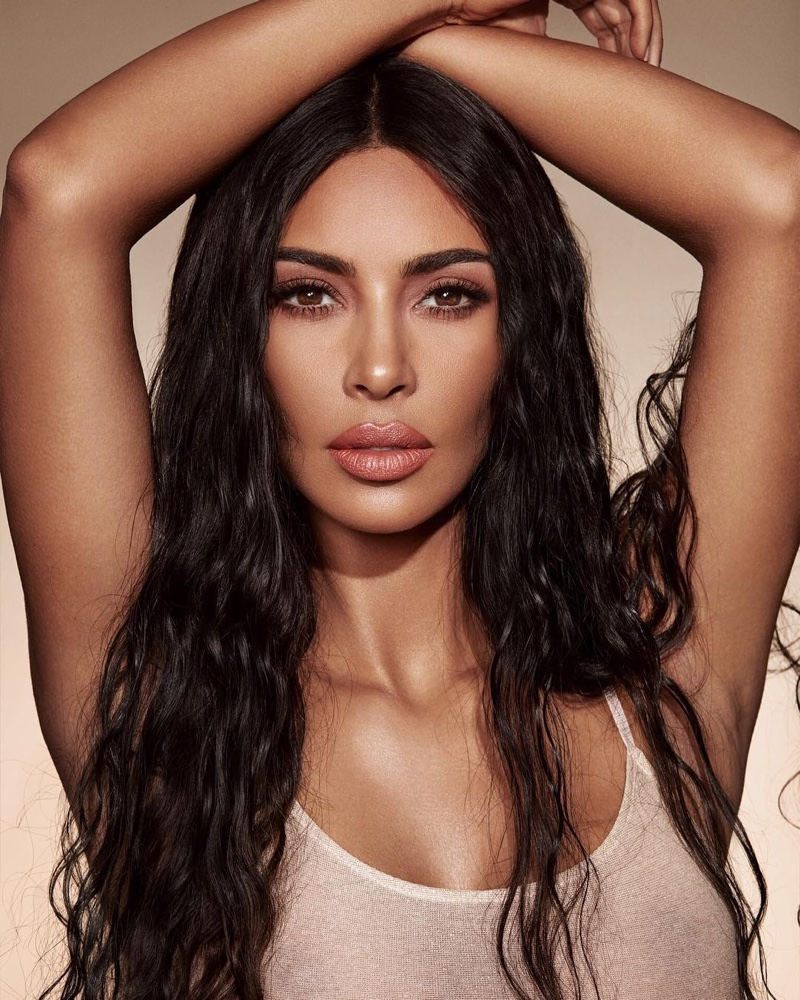 Kim Kardashian shows off a wavy hairstyle for KKW Beauty Classic Collection campaign