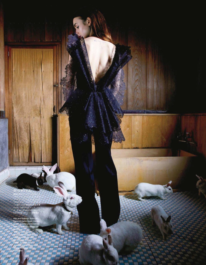 Posing with rabbits, Lily Collins wears Givenchy Haute Couture ensemble