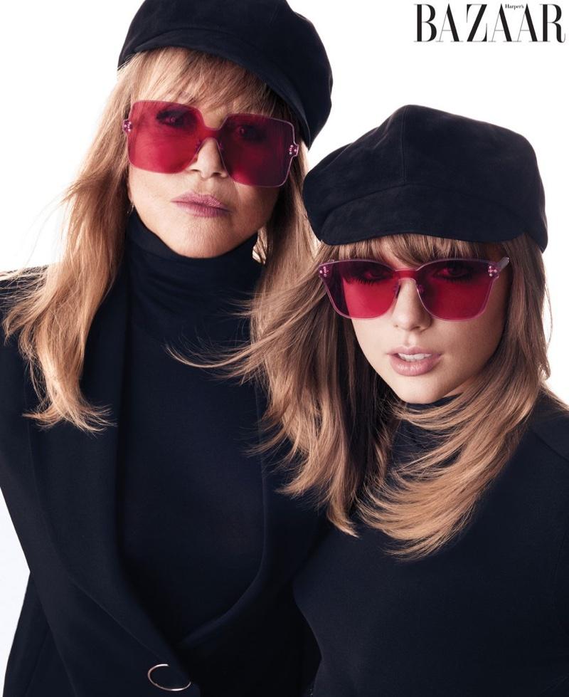 Posing with Pattie Boyd, Taylor Swift wears Falke bodysuit, Dior hat and sunglasses