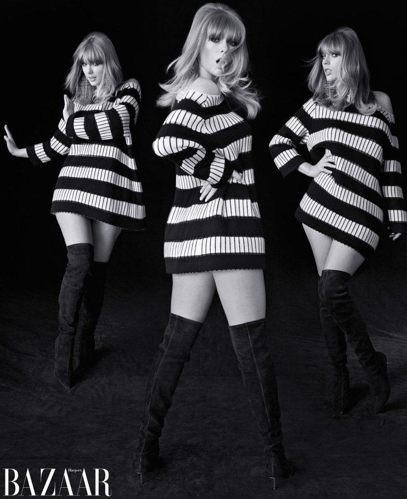 Singer Taylor Swift poses in Akris dress, Saint Laurent earrings and Stella Luna boots