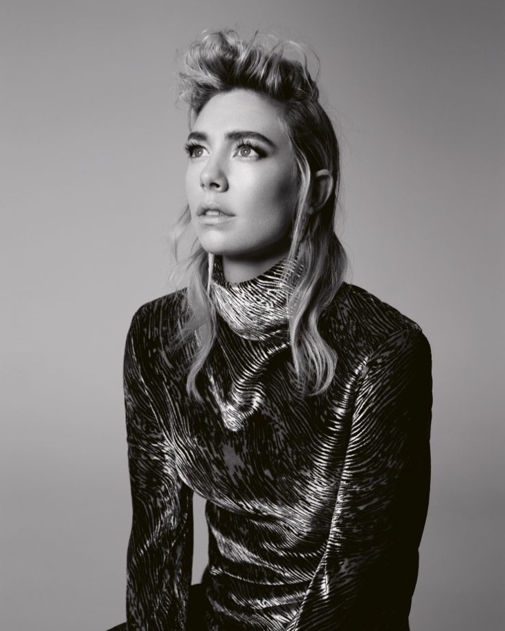 Actress Vanessa Kirby poses in black and white image
