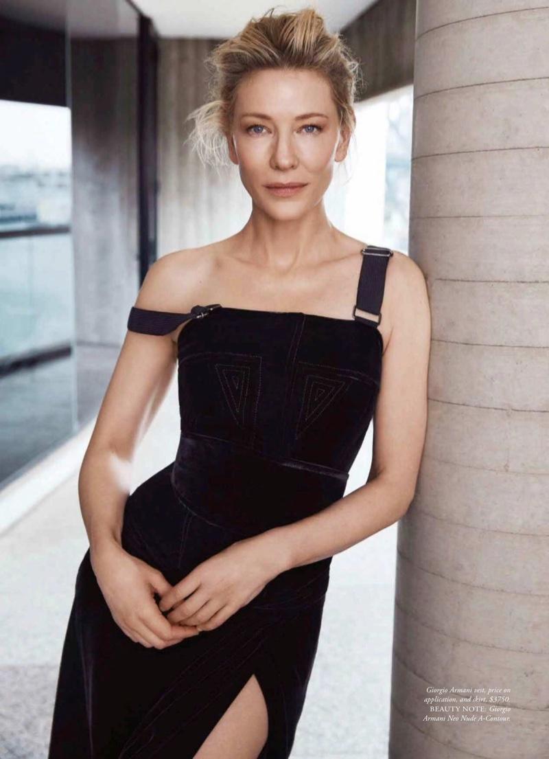 Actress Cate Blanchett wears Giorgio Armani dress