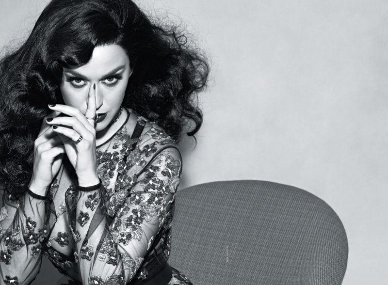 Photographed in black and white, Katy Perry wears Dior dress