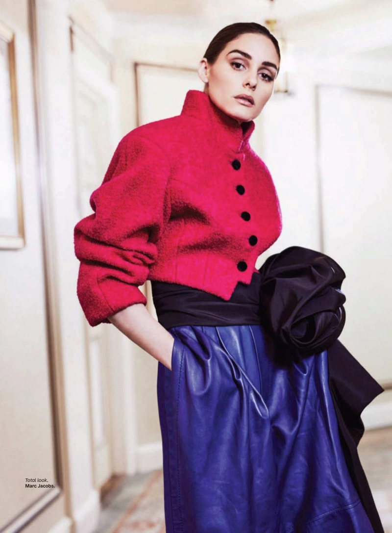 Olivia Palermo wears a complete look from Marc Jacobs