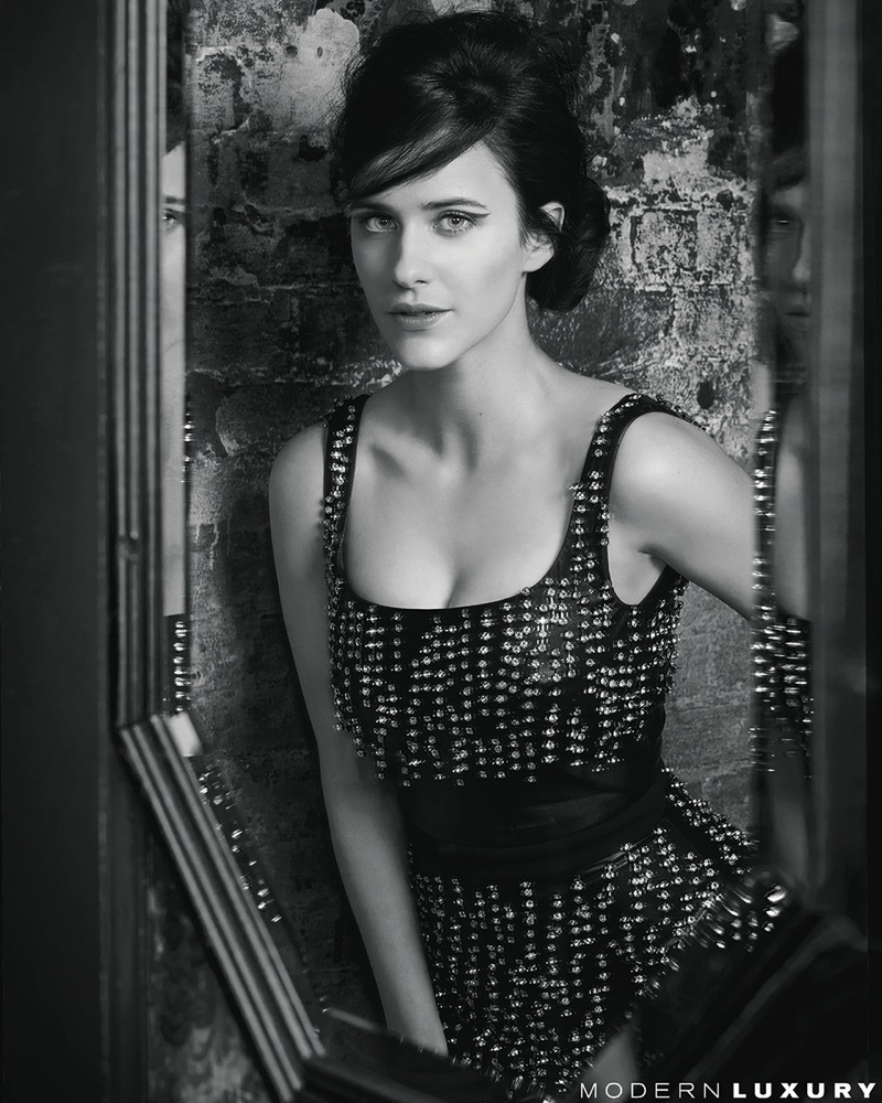 Captured in black and white, Rachel Brosnahan wears Christopher Kane dress