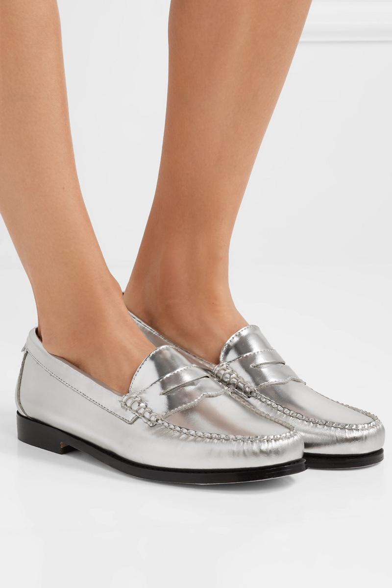 RE/DONE x Weejuns The Whitney Metallic Leather Loafers $325