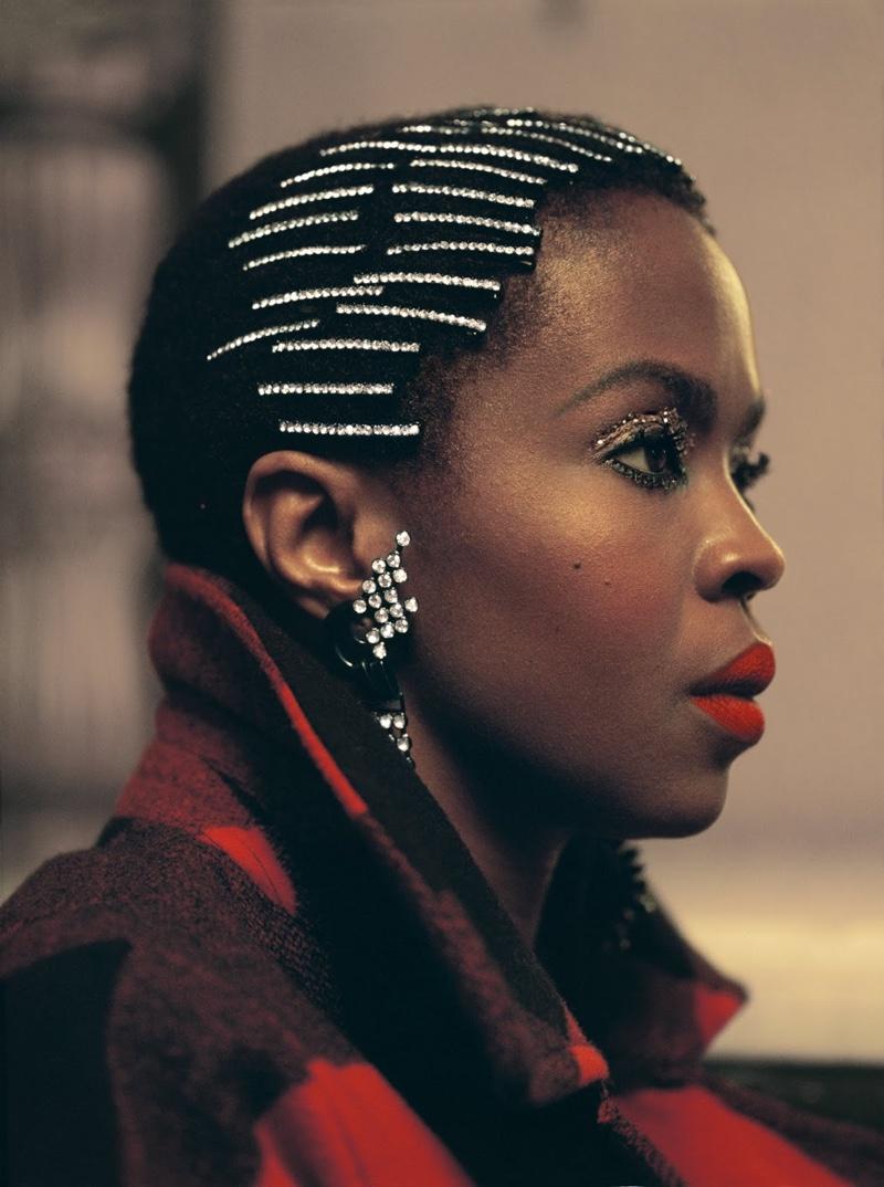 Singer Lauryn Hill wears glittery bobby pins in Woolrich fall-winter 2018 campaign