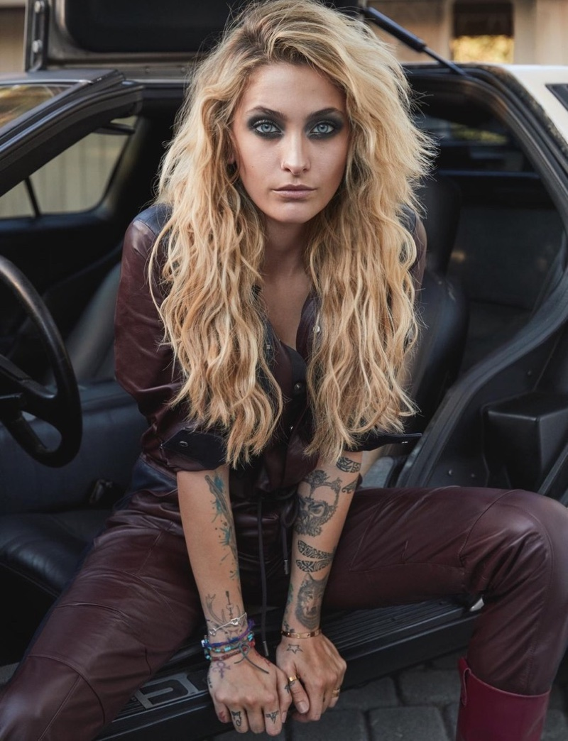 Actress Paris Jackson poses in Karl Lagerfeld jumpsuit