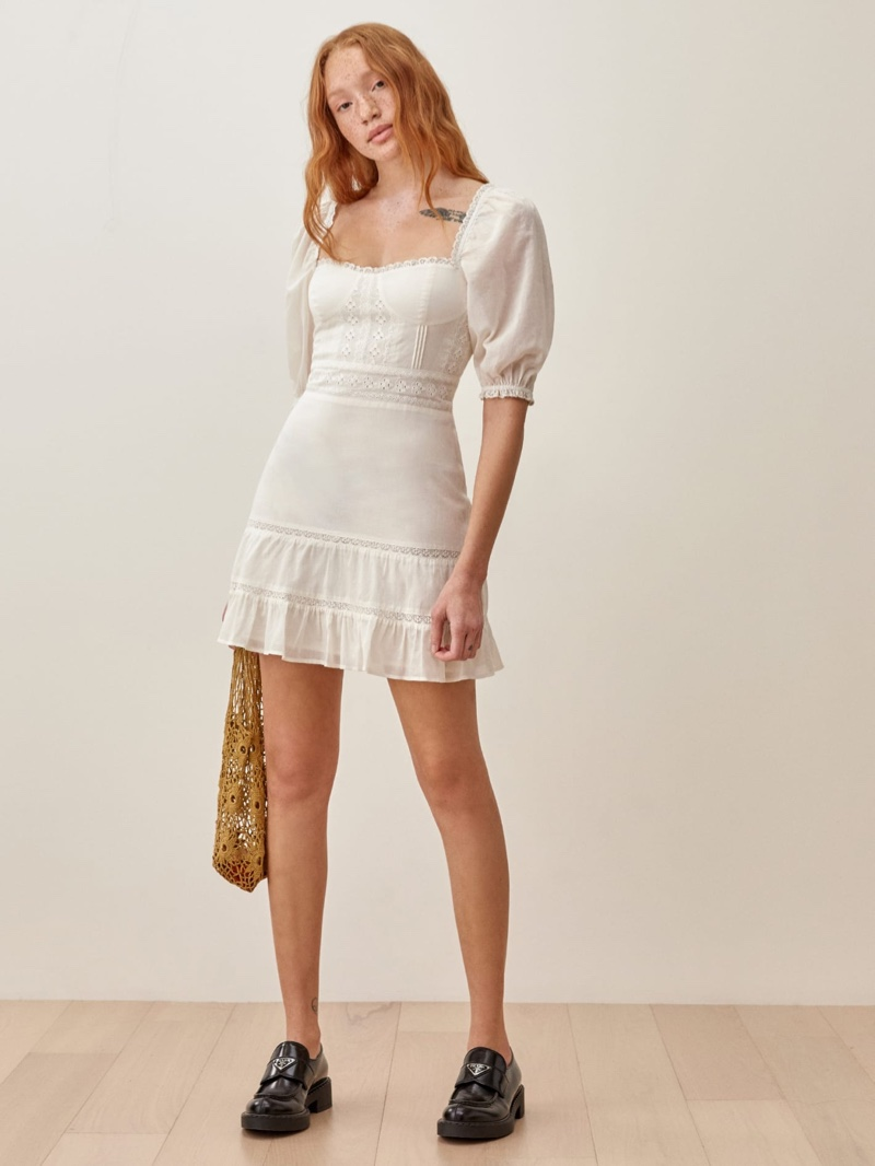 Reformation Paxton Dress in Ivory $248