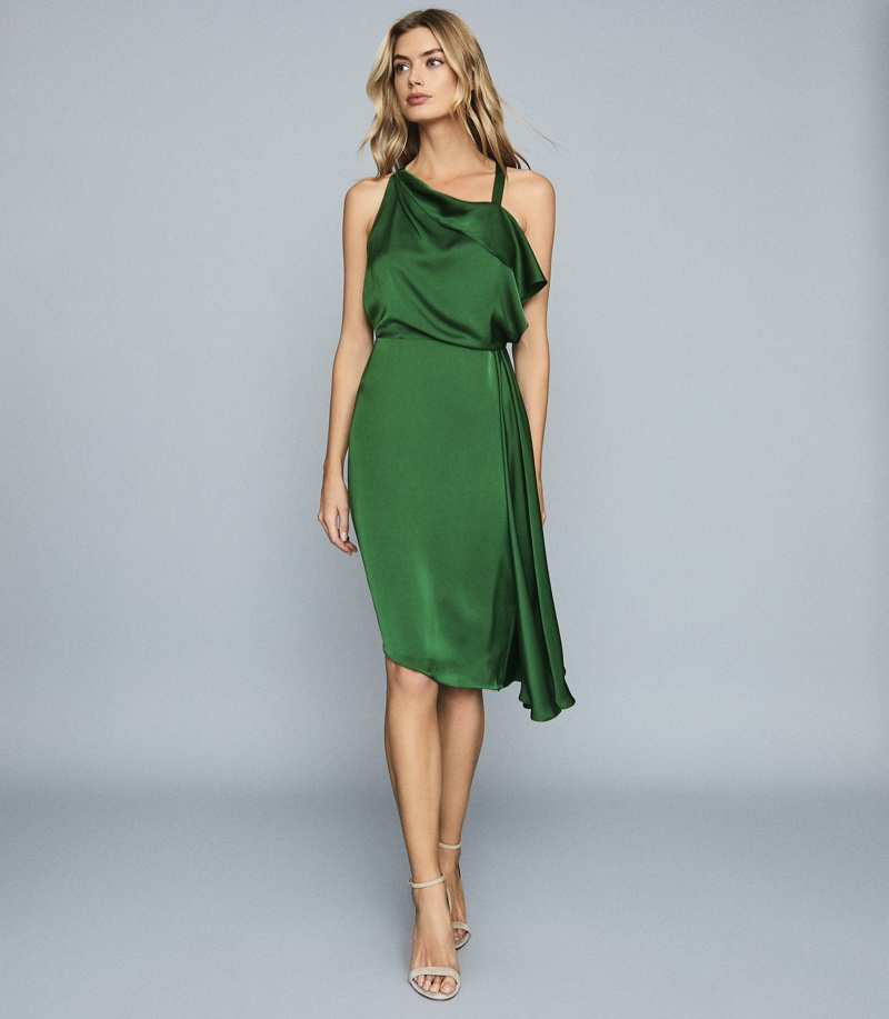 Reiss Aya Draped Satin Midi Dress $275 (previously $350)