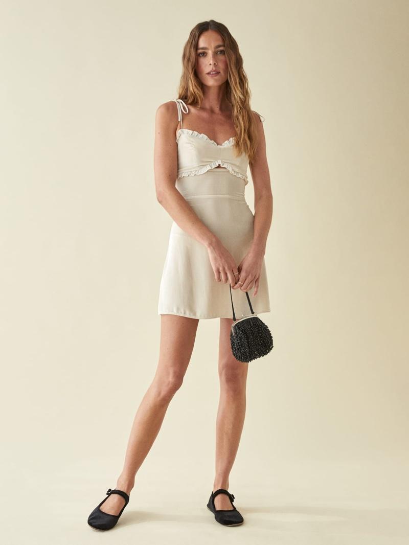 Reformation Bev Dress in Almond $248