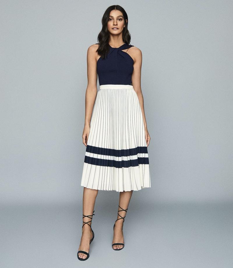 REISS Annabelle Pleated Midi Skirt $145