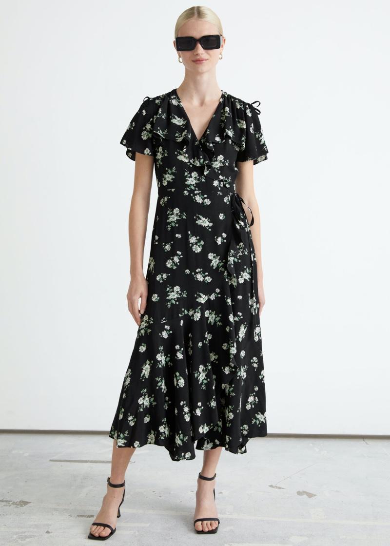 & Other Stories Asymmetric Wrap Midi Dress $99