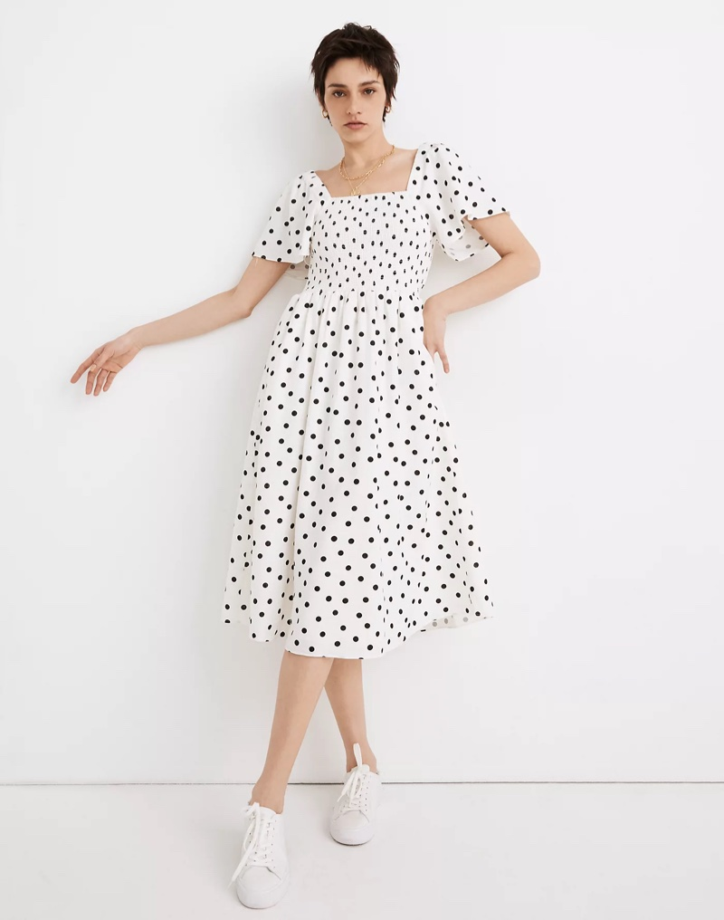 Madewell Linen-Blend Lucie Smocked Midi Dress in Polka Dot $118