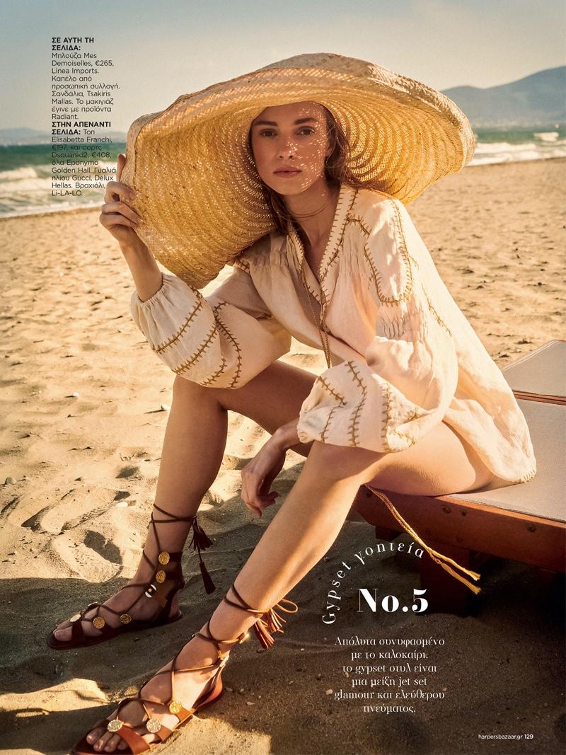Ieva Rainyte Has a Beach Getaway in Harper's Bazaar Greece