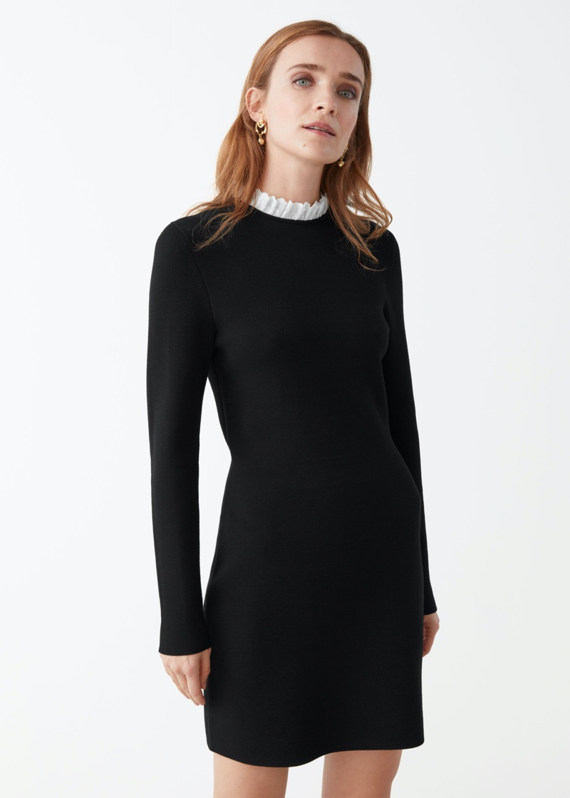 & Other Stories Jacquard Lace Collar Mini Dress $129