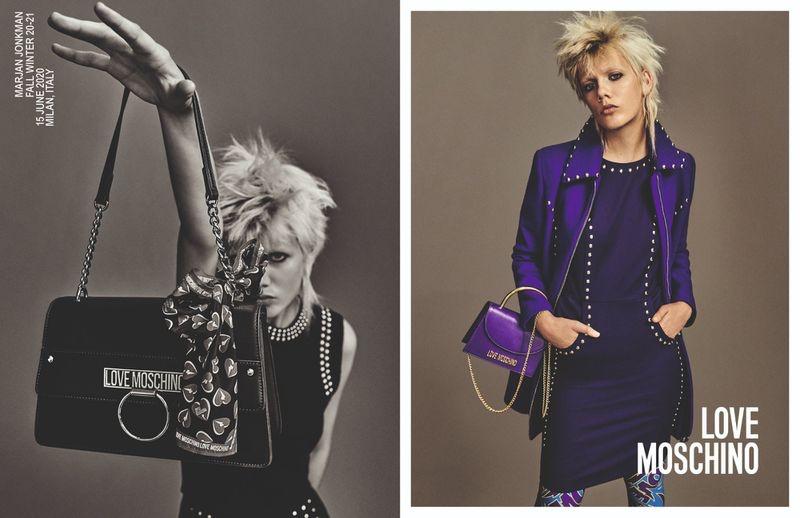 Marjan Jonkman appears in Love Moschino fall-winter 2020 campaign.