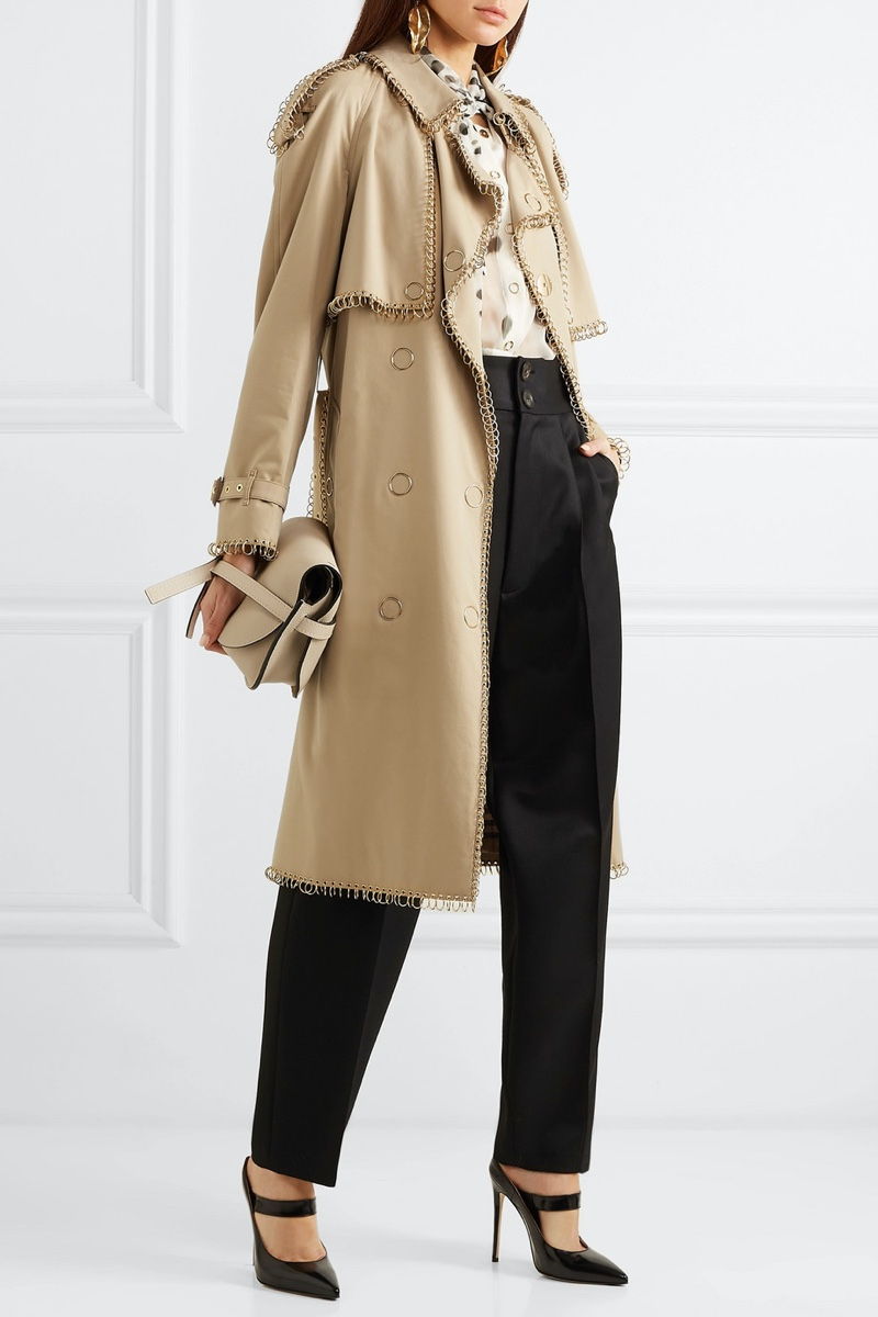 Burberry Embellished Cotton Gabardine Trench Coat $4,740 (previously $7,900)