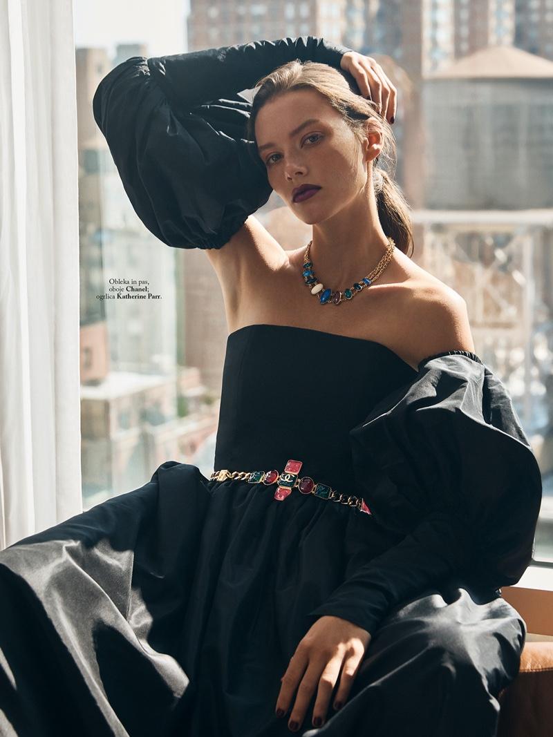 Jasmine Dwyer Embraces Elegant Fashion for ELLE Slovenia