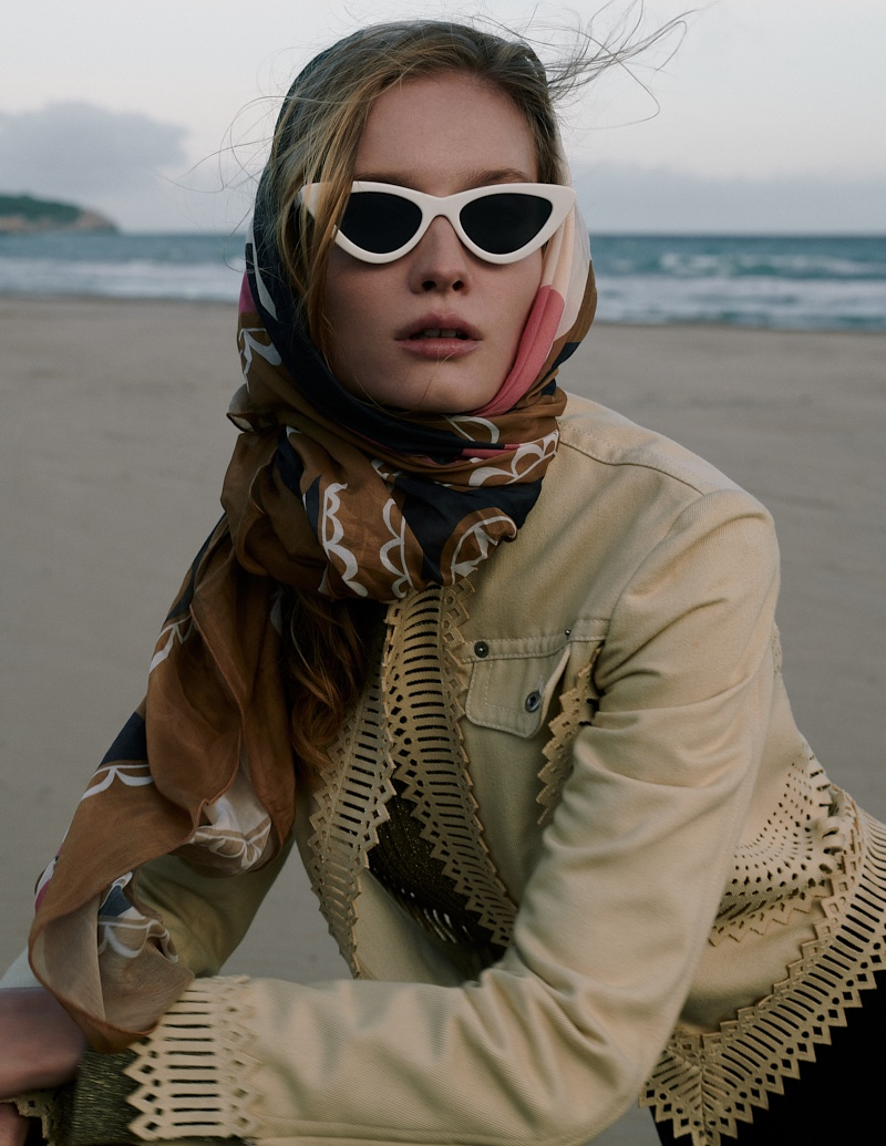 Kasia Smulska Poses in Chic Beach Looks for L'Officiel Baltics