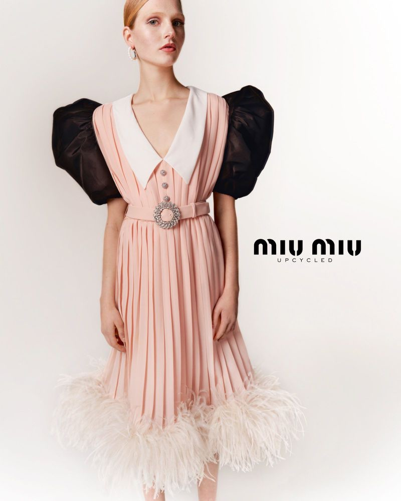 A look at a dress from Miu Miu's Upcycled collection.