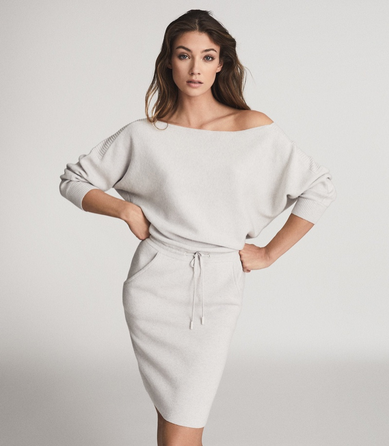 REISS Amara Off-Shoulder Knitted Dress in Grey Marl $370