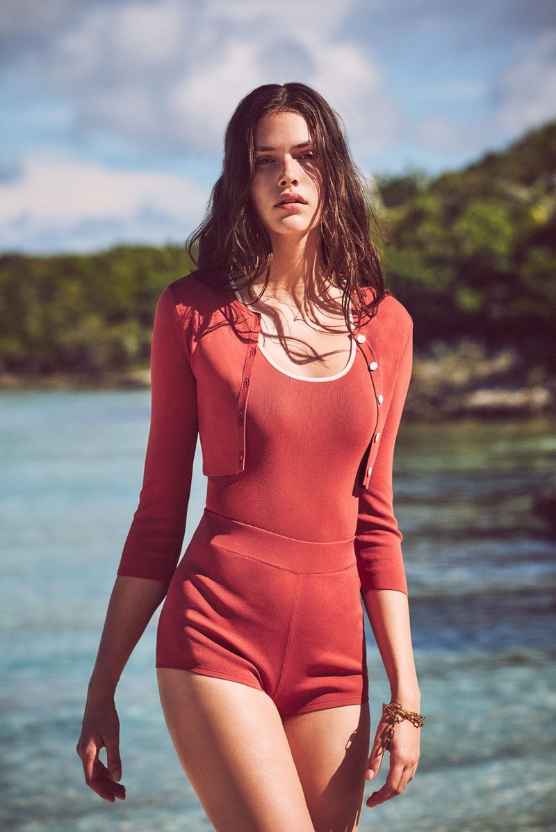 Dressed in red, Vanessa Moody fronts Alexis' Eternal Affair collection.