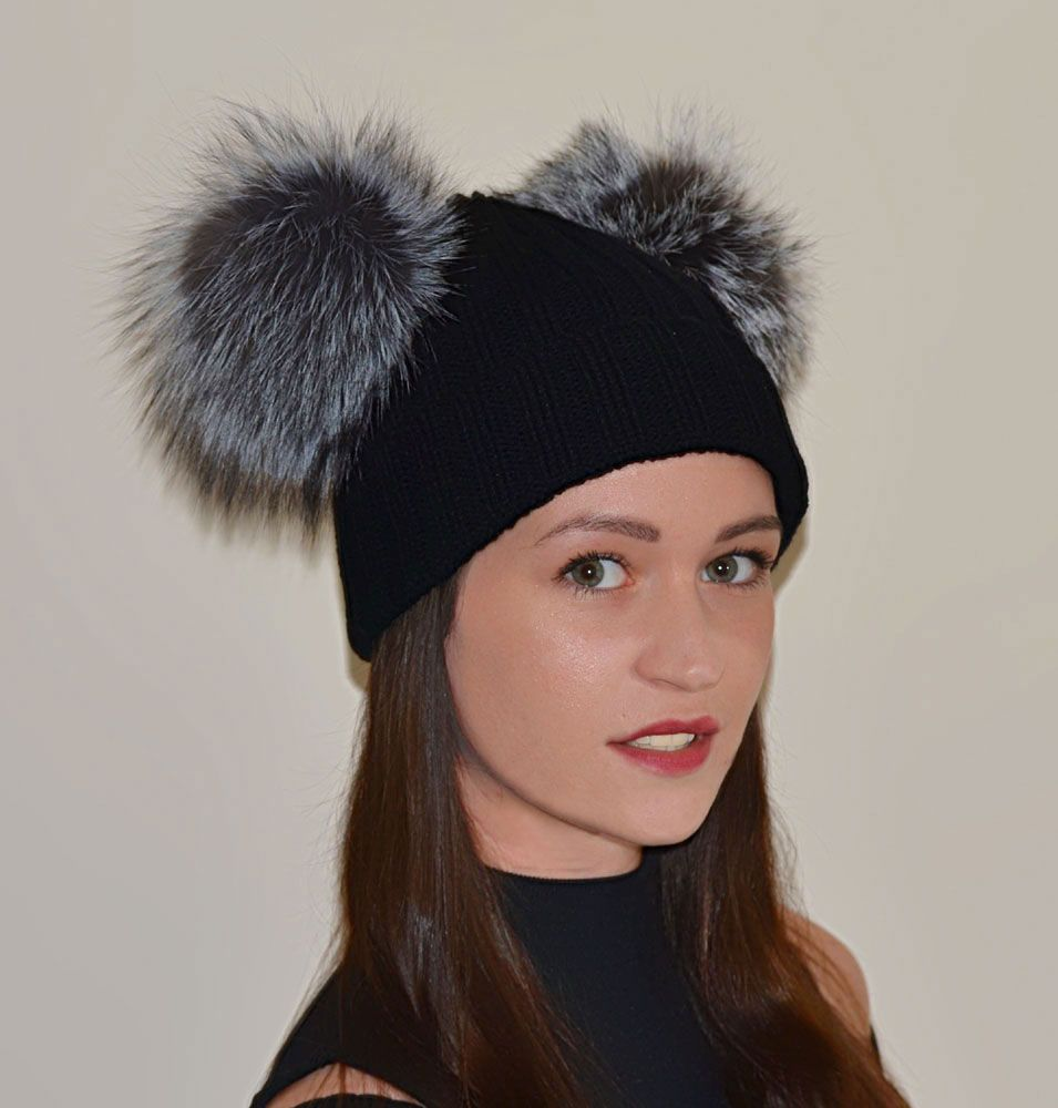 Real Silver Fox Fur Pom Beanie Hats with 2 x Large Fox Poms