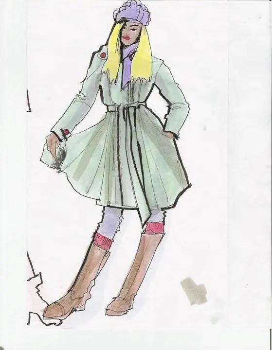 Laura Volpintesta, fashion design illustration from live model, markers