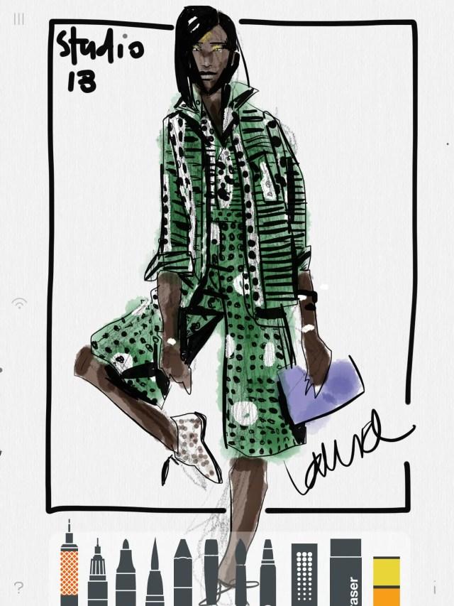 """AGGIE"" print batik ensemble, by Studio189, studiooneeightynine, Ghana made, illustrated by Laura Volpintesta, fashionillustrationTRIBE, fashion illustration, fashion school, African fashion"