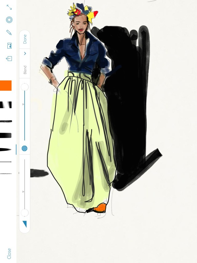 Sketching African Print Fashion skirt, Fashion Illustration tutorial, Laura Volpintesta, Fashion Illustration Tribe