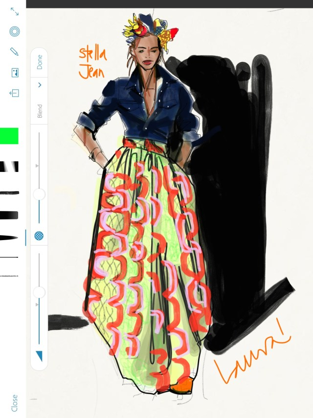 Laura Volpintesta, FAshion Illustration, Stella Jean African Print Skirt