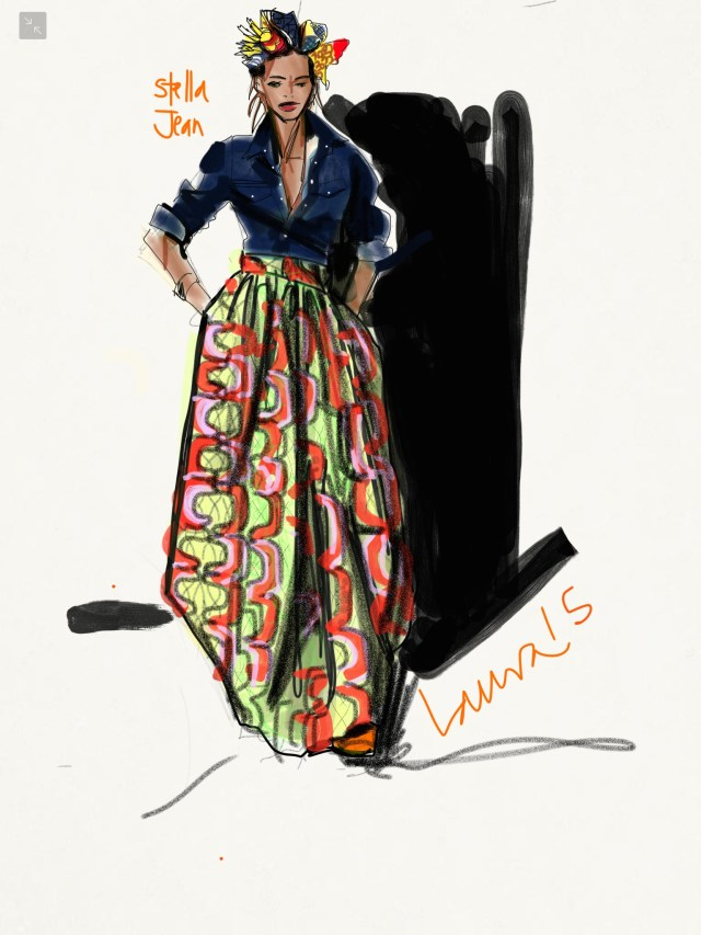 Sketching African print fashion skirt, Laura Volpintesta, FAshion Illustration, Stella Jean African Print Skirt