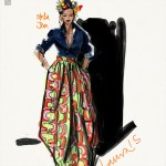 Sketching Stella Jean African Print Fashion Illustrated by Laura Volpintesta, Fashion Illustration Tribe