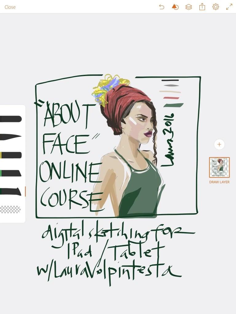 digital fashion art drawing on Adobe Illustrator Draw app for Fashion Laura Volpintesta