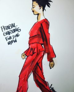 learn fashion design sketching! with fashion illustrator Laura Volpintesta, Fashion sketch of a runway look by Prabal Gurung