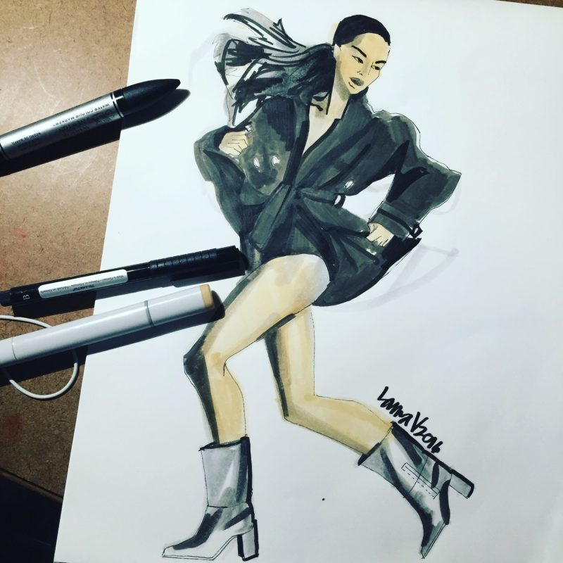 Stuart Weitzman boots, Fashion Illustration by Laura Volpintesta, Fashion illustrator