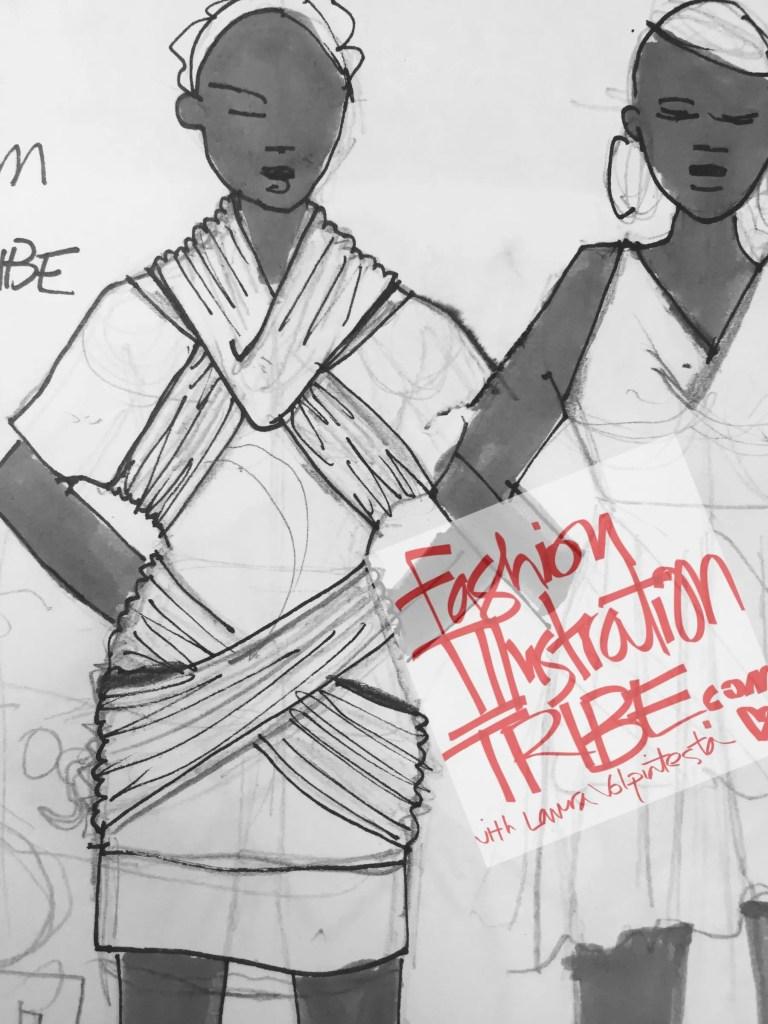 Original Fashion design sketches by Laura Volpintesta