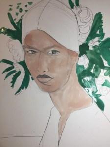 watercolor fashion portrait by Laura Volpintesta