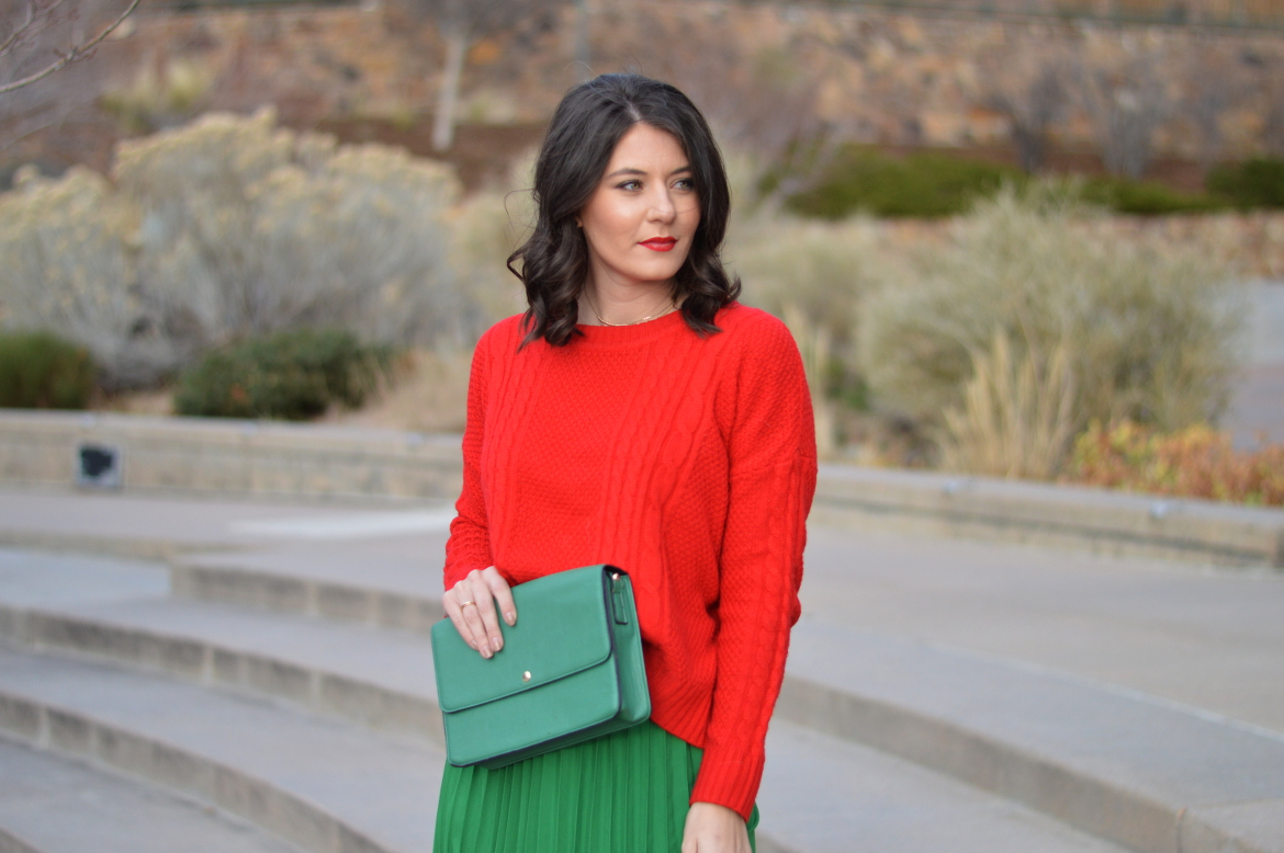 BLOGGER'S BLURB: HOW TO GET INSPIRED FOR THE NEW YEAR by Fashion in Flight chase and chloe velvet lace up booties green shein pleated maxi skirt red cropped sweater forever 21 green clutch fashion beauty lifestyle blog by ashleigh jean lopes colorado springs blogger denver colorado brunette short hair curly hair brunette ootd blogging tips outfit of the day
