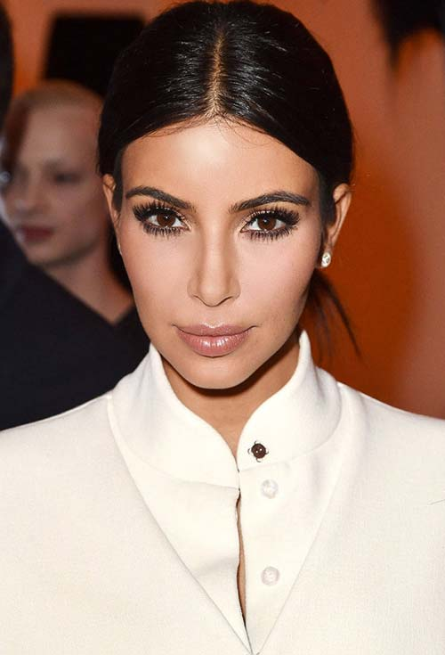 20 Stylish Ways to Wear Center Part Hairstyles: Kim Kardashian