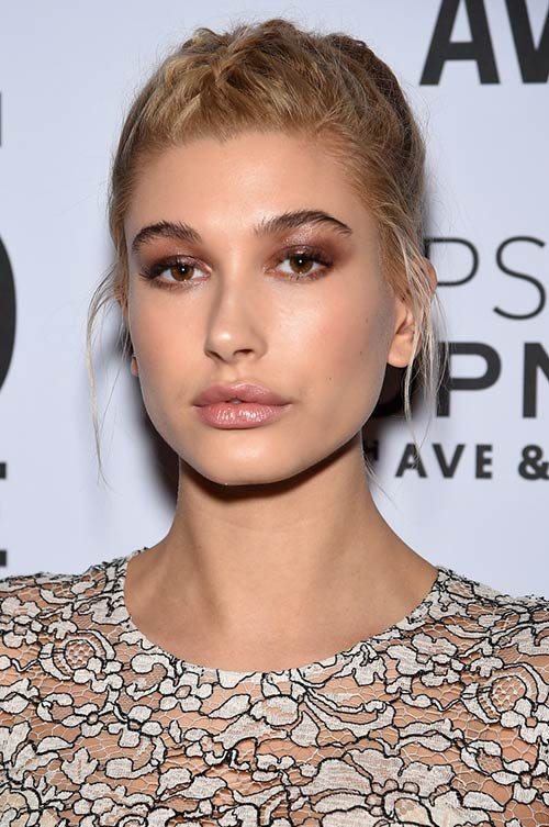 10 Trendy Braided Holiday Hairstyles: Hailey Baldwin Center Fauxhawk Braid